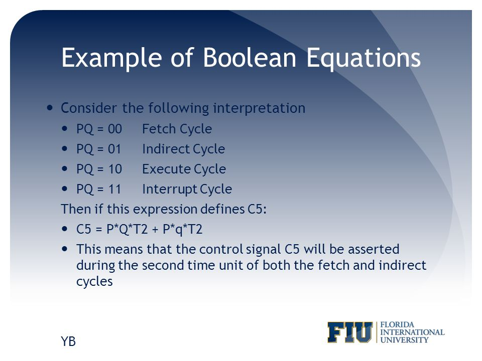 Example of Boolean Equations Consider the following interpretation PQ = 00Fetch Cycle PQ = 01Indirect Cycle PQ = 10 Execute Cycle PQ = 11Interrupt Cyc