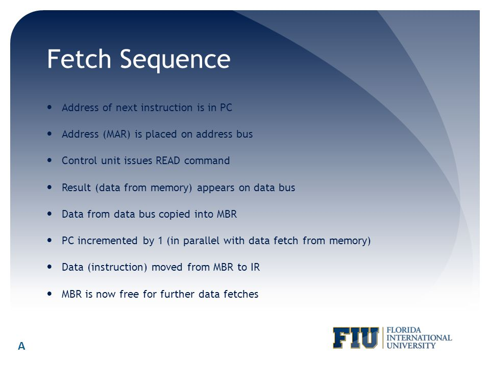 Fetch Sequence Address of next instruction is in PC Address (MAR) is placed on address bus Control unit issues READ command Result (data from memory)