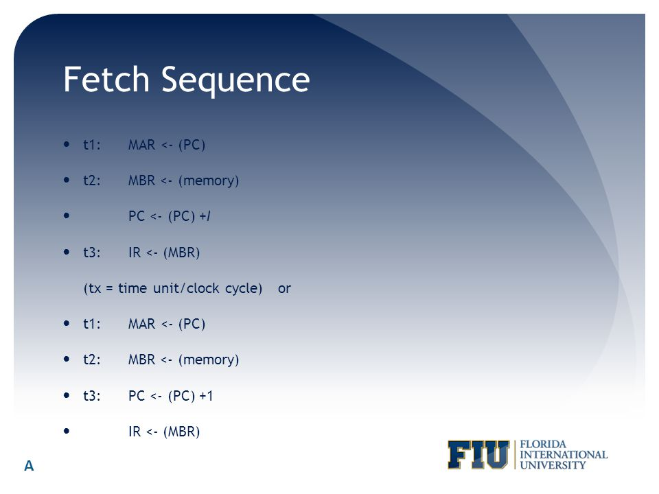 Fetch Sequence t1:MAR <- (PC) t2:MBR <- (memory) PC <- (PC) +I t3:IR <- (MBR) (tx = time unit/clock cycle) or t1:MAR <- (PC) t2:MBR <- (memory) t3:PC