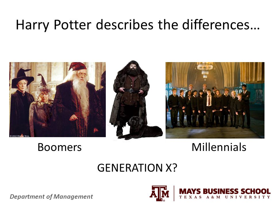 Department of Management Harry Potter describes the differences… VS.