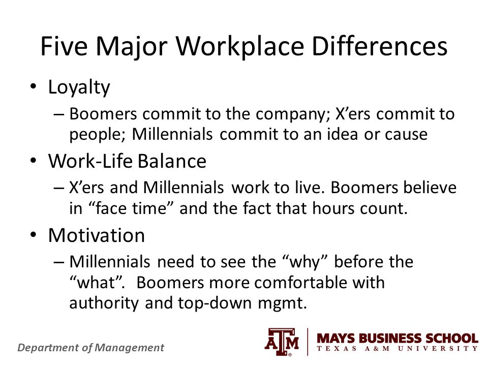 Department of Management Five Major Workplace Differences Loyalty – Boomers commit to the company; X'ers commit to people; Millennials commit to an idea or cause Work-Life Balance – X'ers and Millennials work to live.