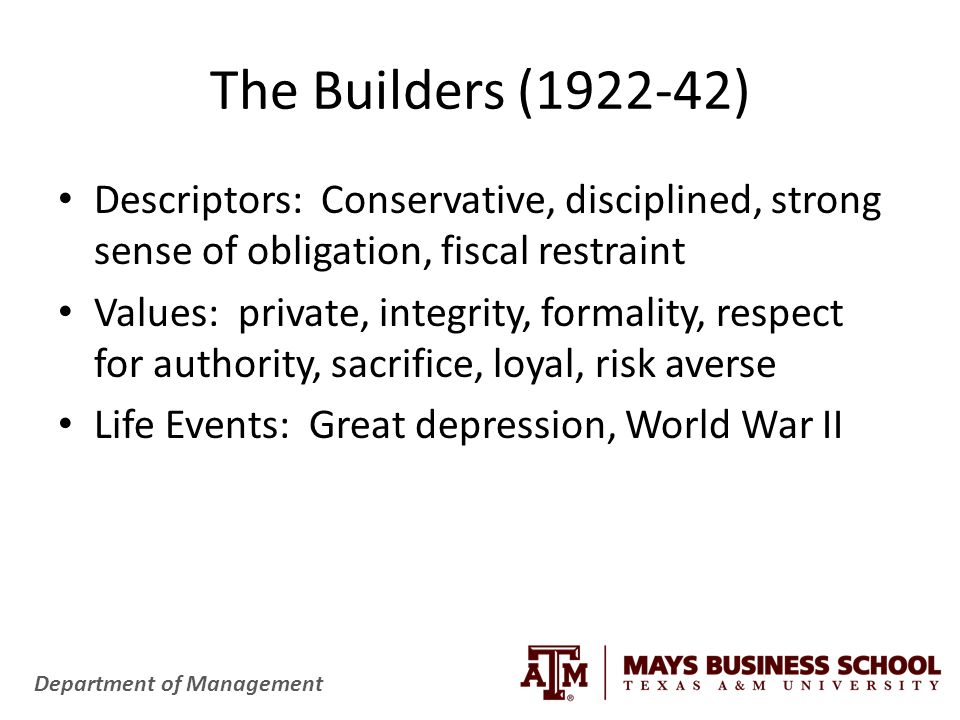 Department of Management The Builders (1922-42) Descriptors: Conservative, disciplined, strong sense of obligation, fiscal restraint Values: private, integrity, formality, respect for authority, sacrifice, loyal, risk averse Life Events: Great depression, World War II