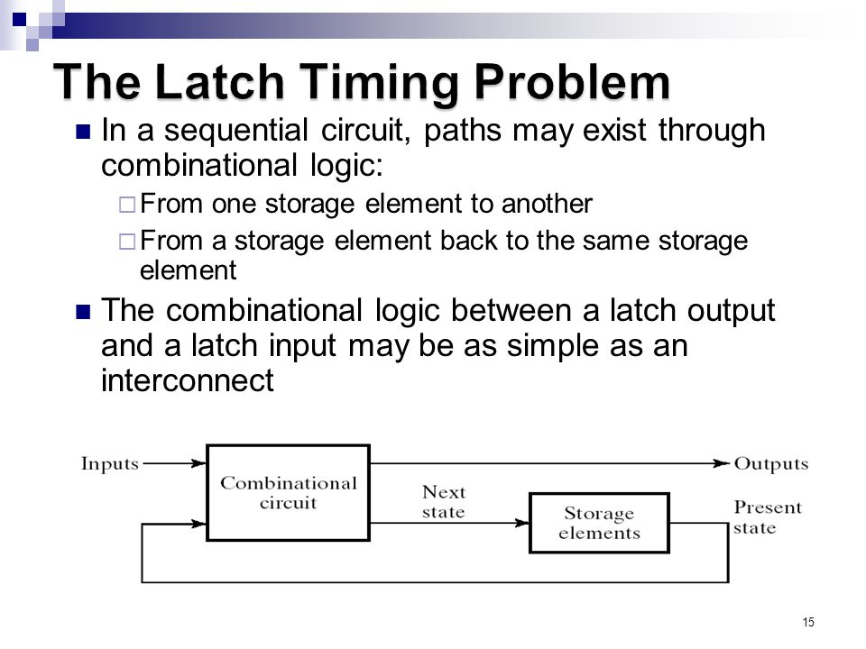 15 In a sequential circuit, paths may exist through combinational logic:  From one storage element to another  From a storage element back to the same storage element The combinational logic between a latch output and a latch input may be as simple as an interconnect For a clocked D-latch, the output Q depends on the input D whenever the clock input C has value 1