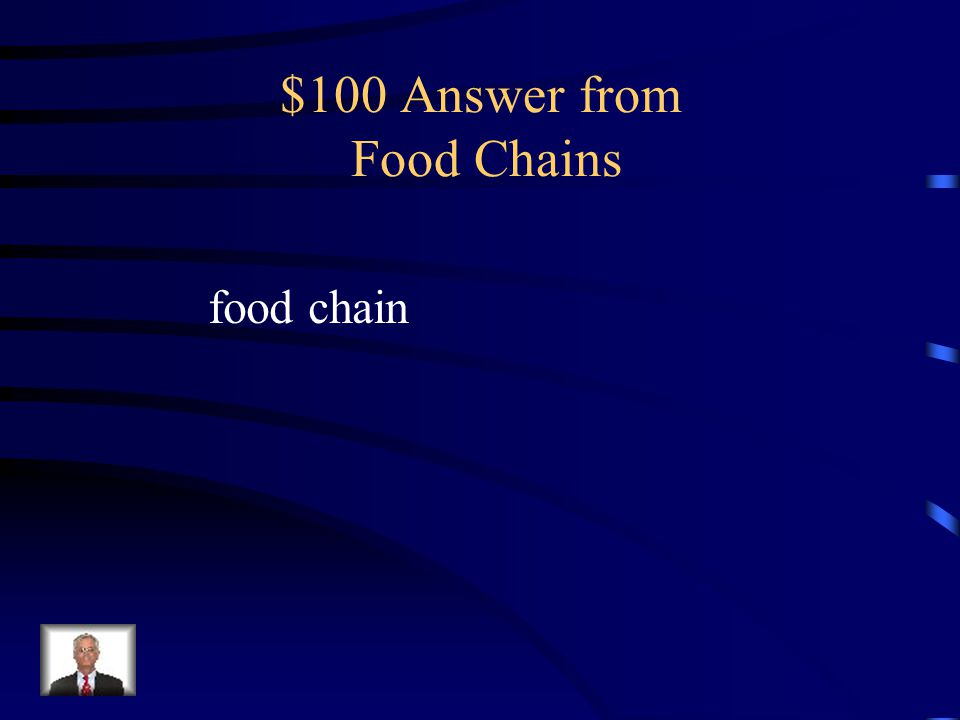$100 Question from Food Chains What is a series of steps showing the transfer of energy among living things