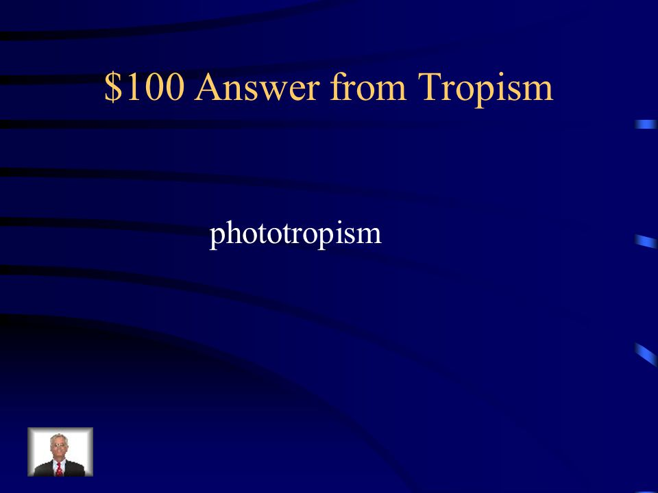 $100 Question from Tropism Which type of response of a plant involves the plants' leaves and stems growing towards a light source