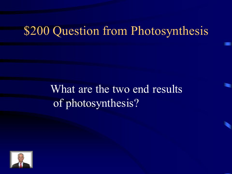 $100 Answer from Photosynthesis Sunlight, carbon dioxide, And water