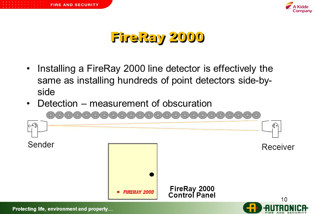 Protecting life, environment and property… 10 FireRay 2000 Installing a FireRay 2000 line detector is effectively the same as installing hundreds of point detectors side-by- side Detection – measurement of obscuration Sender Receiver FireRay 2000 Control Panel