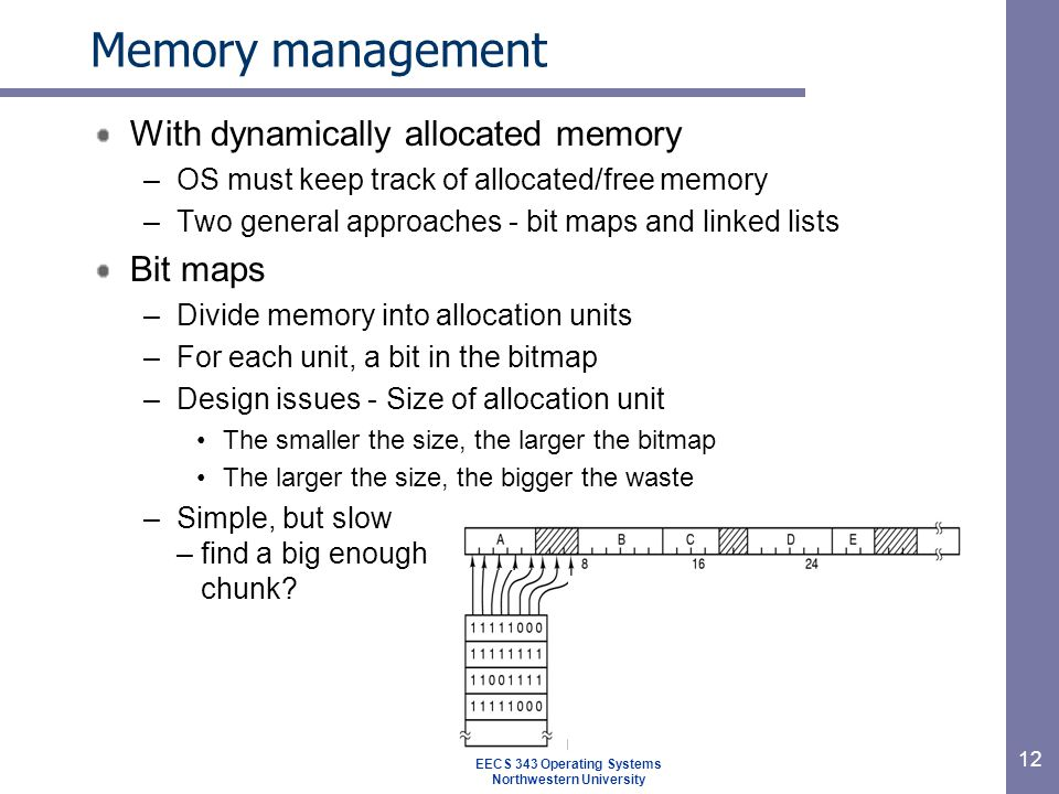 12 Memory management With dynamically allocated memory –OS must keep track of allocated/free memory –Two general approaches - bit maps and linked lists Bit maps –Divide memory into allocation units –For each unit, a bit in the bitmap –Design issues - Size of allocation unit The smaller the size, the larger the bitmap The larger the size, the bigger the waste –Simple, but slow – find a big enough chunk.