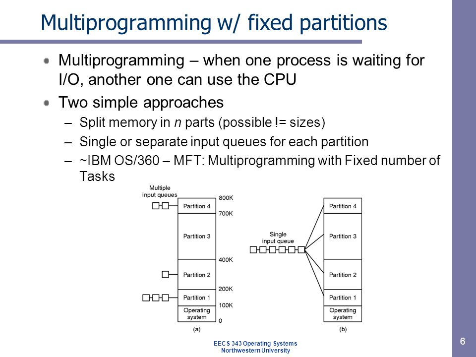 6 Multiprogramming w/ fixed partitions Multiprogramming – when one process is waiting for I/O, another one can use the CPU Two simple approaches –Split memory in n parts (possible != sizes) –Single or separate input queues for each partition –~IBM OS/360 – MFT: Multiprogramming with Fixed number of Tasks EECS 343 Operating Systems Northwestern University