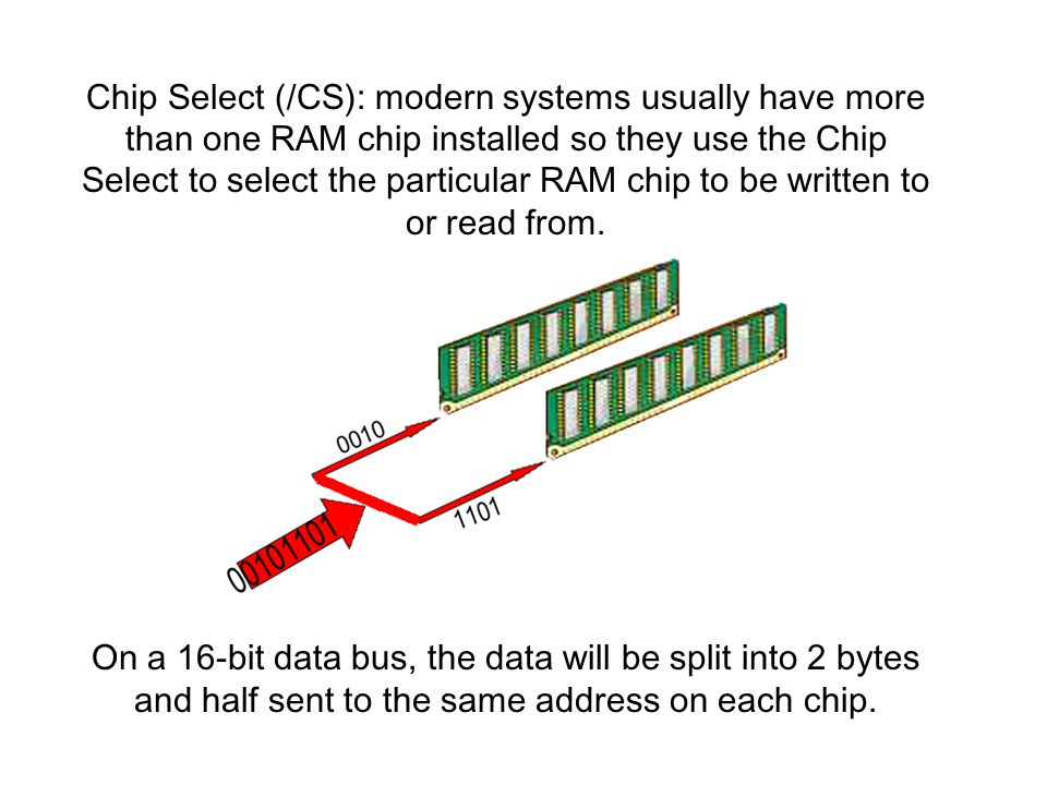 Chip Select (/CS): modern systems usually have more than one RAM chip installed so they use the Chip Select to select the particular RAM chip to be wr