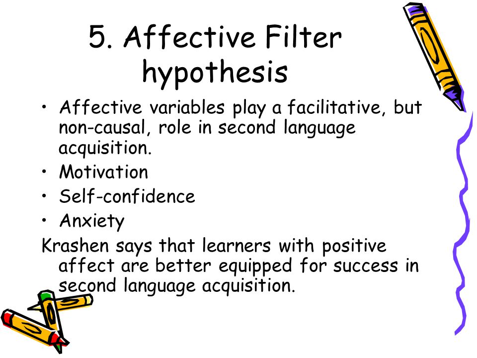 5. Affective Filter hypothesis Affective variables play a facilitative, but non-causal, role in second language acquisition. Motivation Self-confidenc