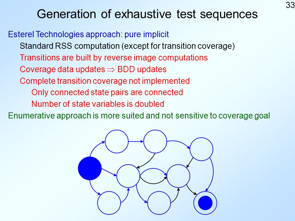 33 Generation of exhaustive test sequences Esterel Technologies approach: pure implicit Standard RSS computation (except for transition coverage) Transitions are built by reverse image computations Coverage data updates  BDD updates Complete transition coverage not implemented Only connected state pairs are connected Enumerative approach is more suited and not sensitive to coverage goal Number of state variables is doubled
