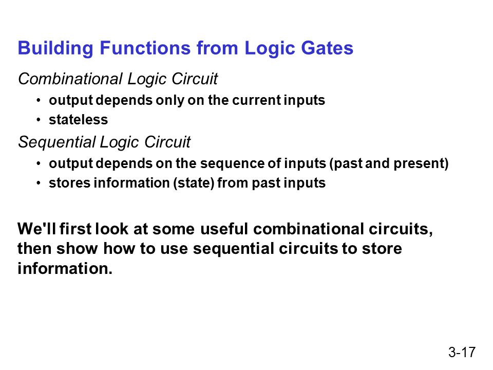 3-17 Building Functions from Logic Gates Combinational Logic Circuit output depends only on the current inputs stateless Sequential Logic Circuit output depends on the sequence of inputs (past and present) stores information (state) from past inputs We ll first look at some useful combinational circuits, then show how to use sequential circuits to store information.