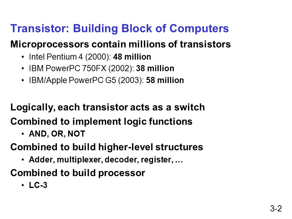 3-2 Transistor: Building Block of Computers Microprocessors contain millions of transistors Intel Pentium 4 (2000): 48 million IBM PowerPC 750FX (2002): 38 million IBM/Apple PowerPC G5 (2003): 58 million Logically, each transistor acts as a switch Combined to implement logic functions AND, OR, NOT Combined to build higher-level structures Adder, multiplexer, decoder, register, … Combined to build processor LC-3