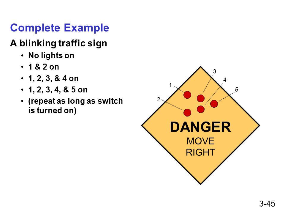 3-45 Complete Example A blinking traffic sign No lights on 1 & 2 on 1, 2, 3, & 4 on 1, 2, 3, 4, & 5 on (repeat as long as switch is turned on) DANGER MOVE RIGHT 1 2 3 4 5