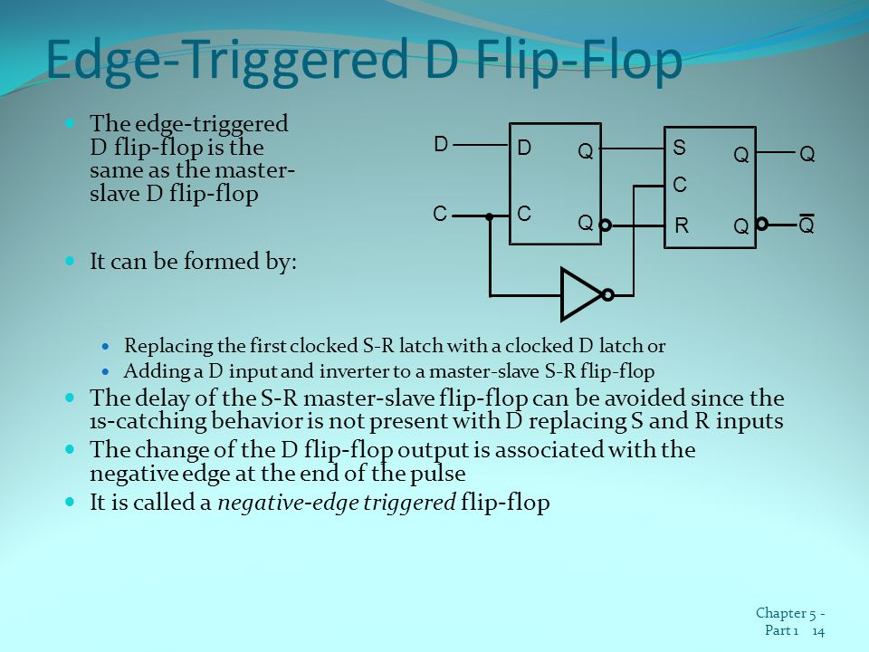 Edge-Triggered D Flip-Flop The edge-triggered D flip-flop is the same as the master- slave D flip-flop It can be formed by: Replacing the first clocked S-R latch with a clocked D latch or Adding a D input and inverter to a master-slave S-R flip-flop The delay of the S-R master-slave flip-flop can be avoided since the 1s-catching behavior is not present with D replacing S and R inputs The change of the D flip-flop output is associated with the negative edge at the end of the pulse It is called a negative-edge triggered flip-flop Chapter 5 - Part 1 14 C S R Q Q C Q Q C D Q D Q