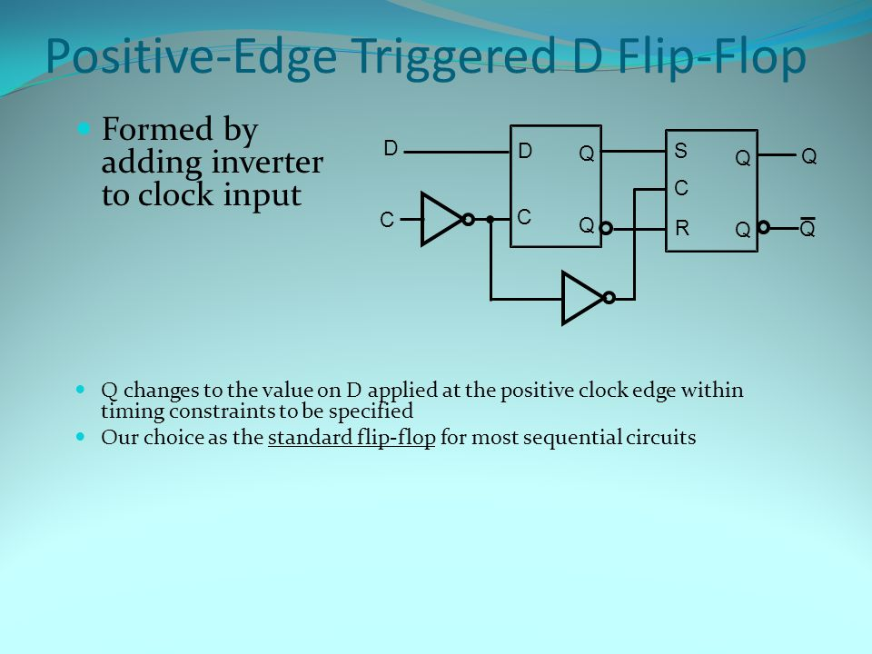 Positive-Edge Triggered D Flip-Flop Formed by adding inverter to clock input Q changes to the value on D applied at the positive clock edge within timing constraints to be specified Our choice as the standard flip-flop for most sequential circuits C S R Q Q C Q Q C D Q D Q