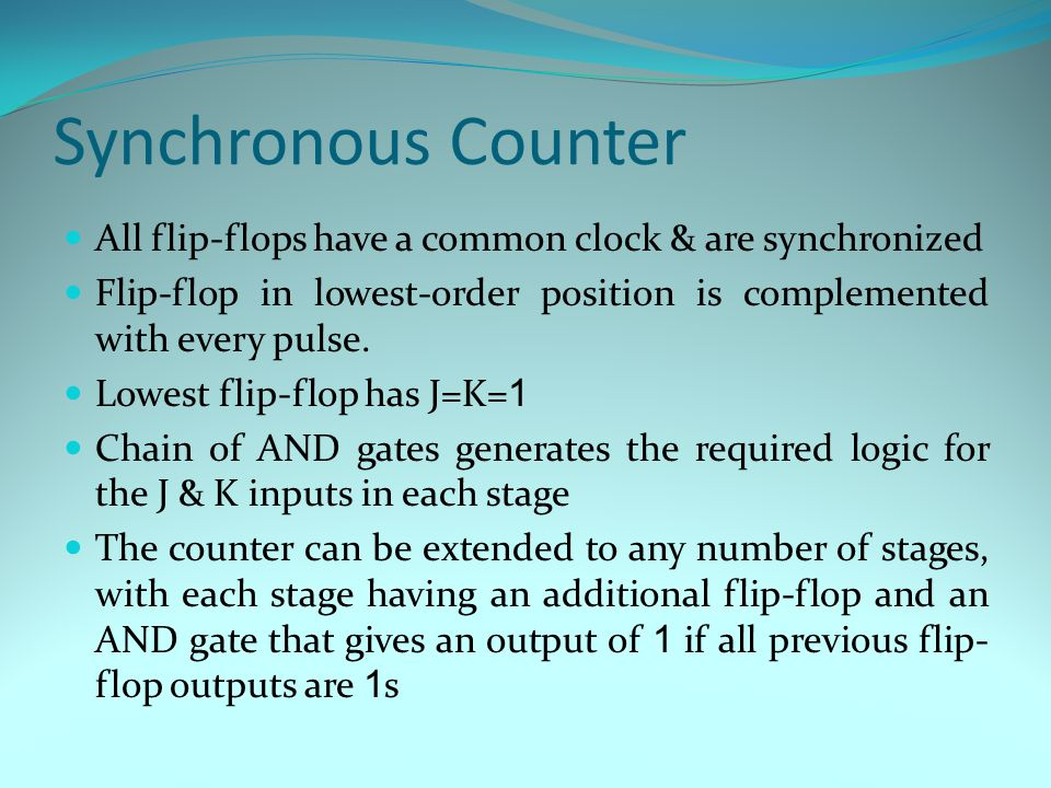 Synchronous Counter All flip-flops have a common clock & are synchronized Flip-flop in lowest-order position is complemented with every pulse.