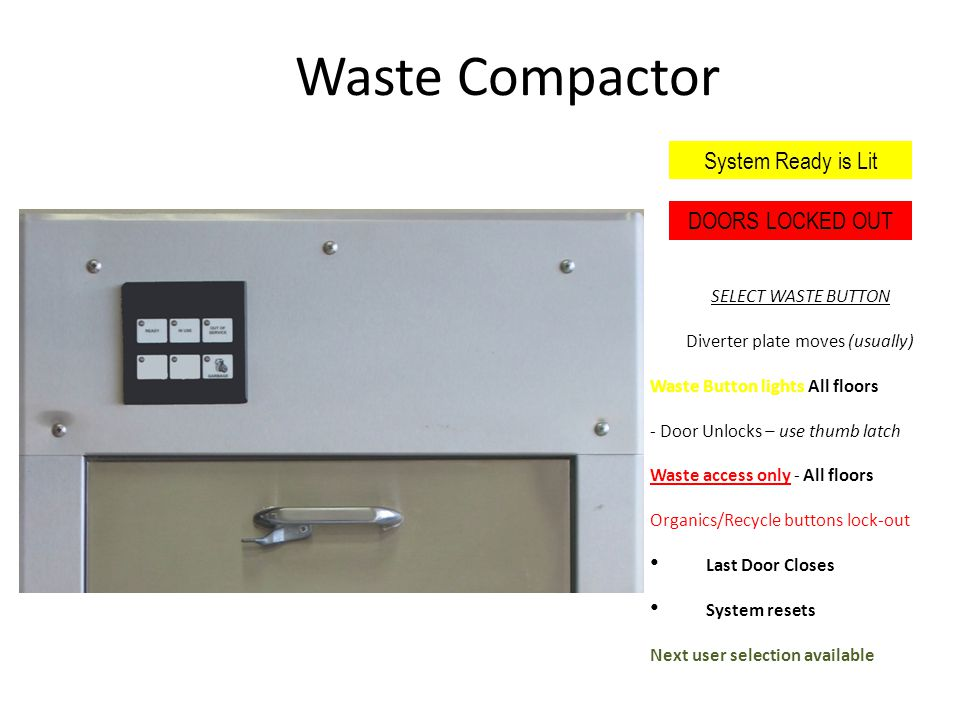 Waste Compactor SELECT WASTE BUTTON Diverter plate moves (usually) Waste Button lights All floors - Door Unlocks – use thumb latch Waste access only - All floors Organics/Recycle buttons lock-out Last Door Closes System resets Next user selection available System Ready is Lit DOORS LOCKED OUT