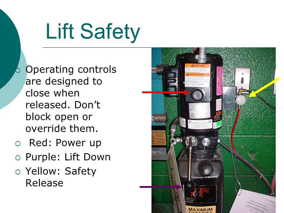 Lift Safety  Operating controls are designed to close when released.