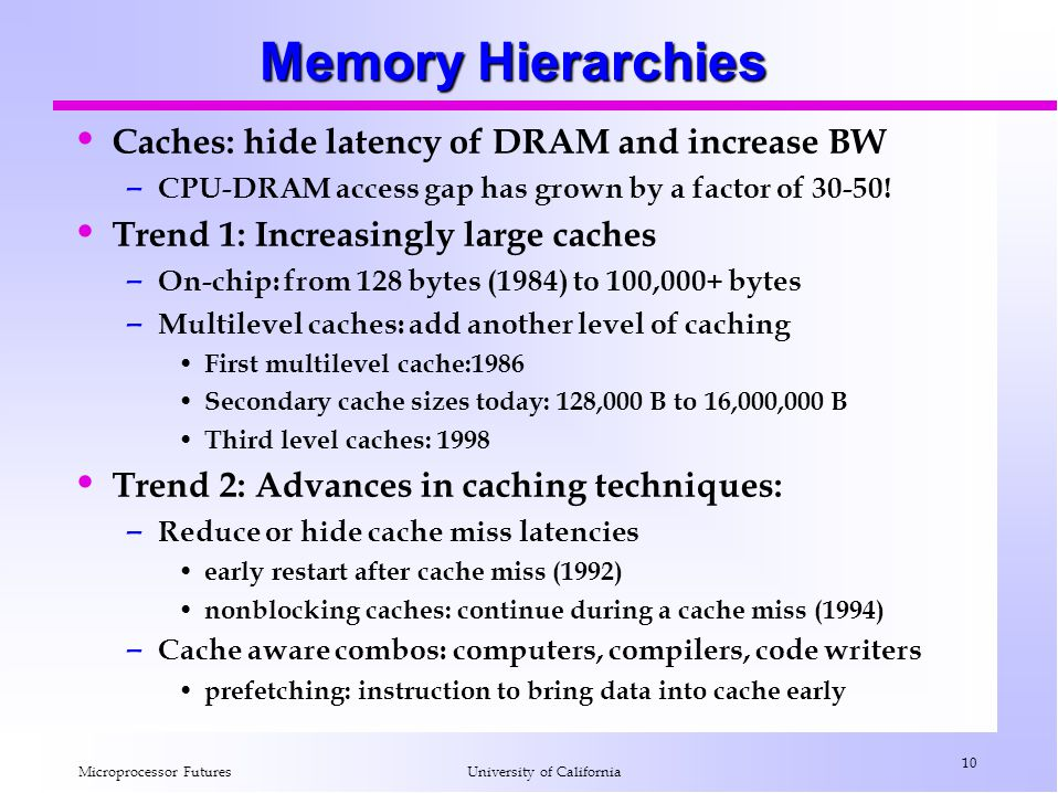 Microprocessor Futures 10 University of California Memory Hierarchies Caches: hide latency of DRAM and increase BW – CPU-DRAM access gap has grown by a factor of 30-50.