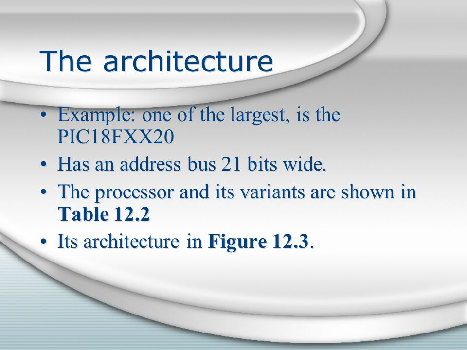 The architecture Example: one of the largest, is the PIC18FXX20 Has an address bus 21 bits wide. The processor and its variants are shown in Table 12.