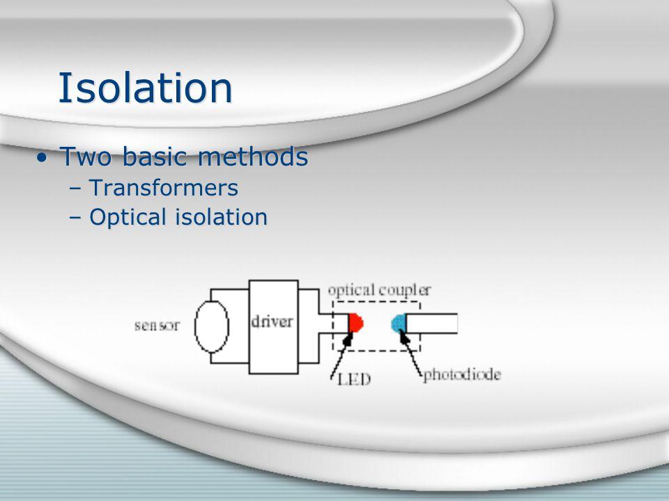 Isolation Two basic methods –Transformers –Optical isolation Two basic methods –Transformers –Optical isolation