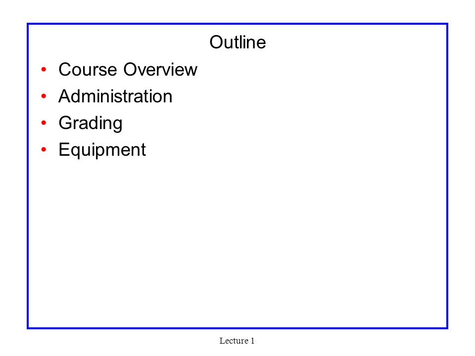 Lecture 1 Grading Quizzes: 20% (10% each) Class Participation (5%) Labs: 75% –MP1: 10% –MP2: 15% –MP3: 15% –MP4: 35% Proposal/Initial Report: 20% Project Presentation: 20% Impact (usefulness, novelty, complexity): 30% Demo/Final Report: 30% MP1-MP3 Grading –Demo: 25% –Functionality: 40% –Report: 35%