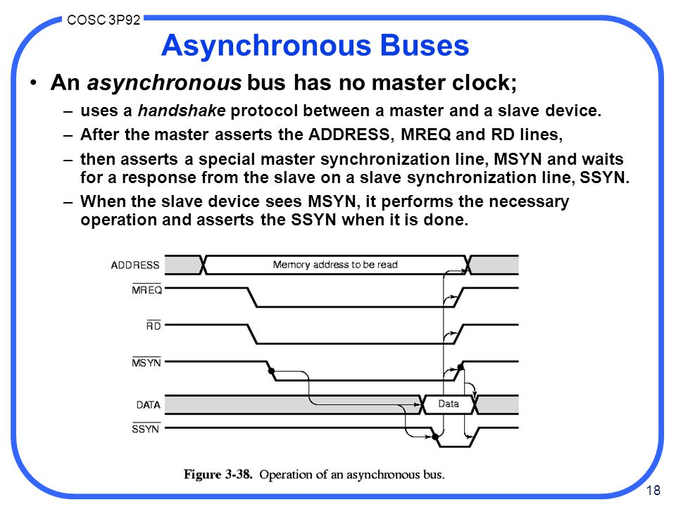 18 COSC 3P92 Asynchronous Buses An asynchronous bus has no master clock; –uses a handshake protocol between a master and a slave device.