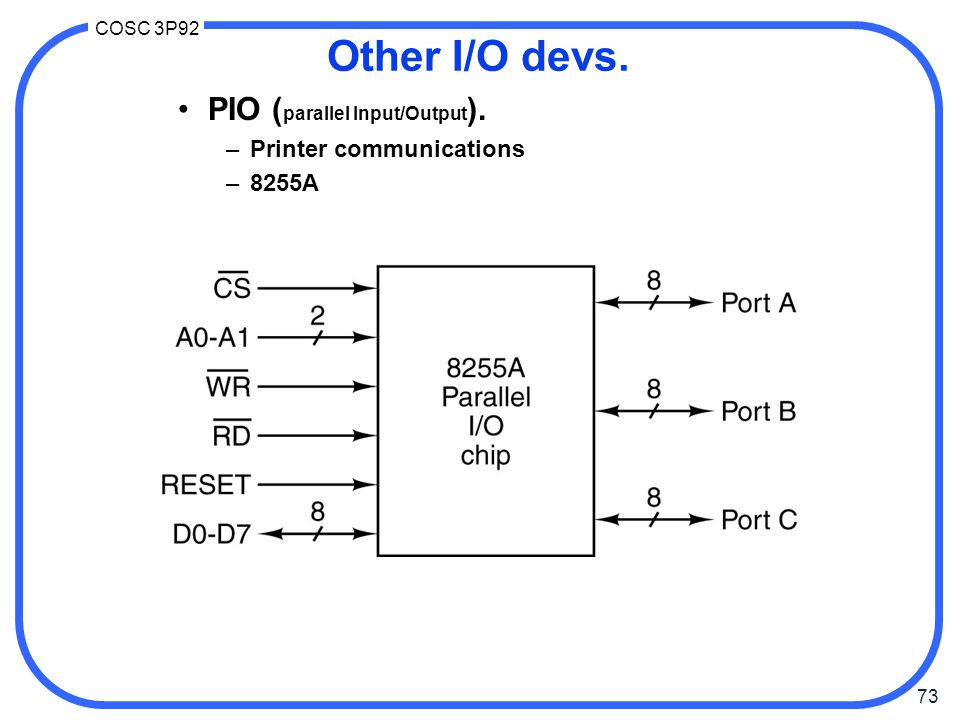 73 COSC 3P92 Other I/O devs. PIO ( parallel Input/Output ). –Printer communications –8255A