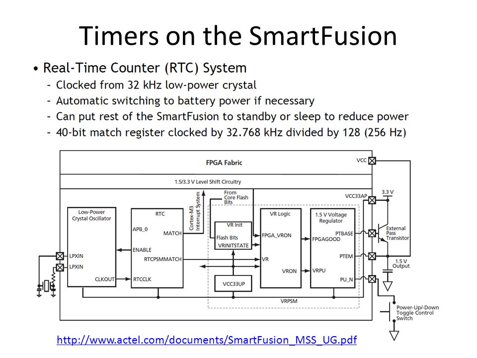 Timers on the SmartFusion http://www.actel.com/documents/SmartFusion_MSS_UG.pdf