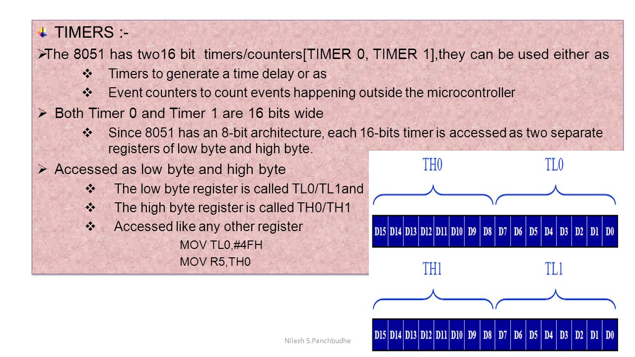 TIMERS :-  The 8051 has two16 bit timers/counters[TIMER 0, TIMER 1],they can be used either as  Timers to generate a time delay or as  Event counte