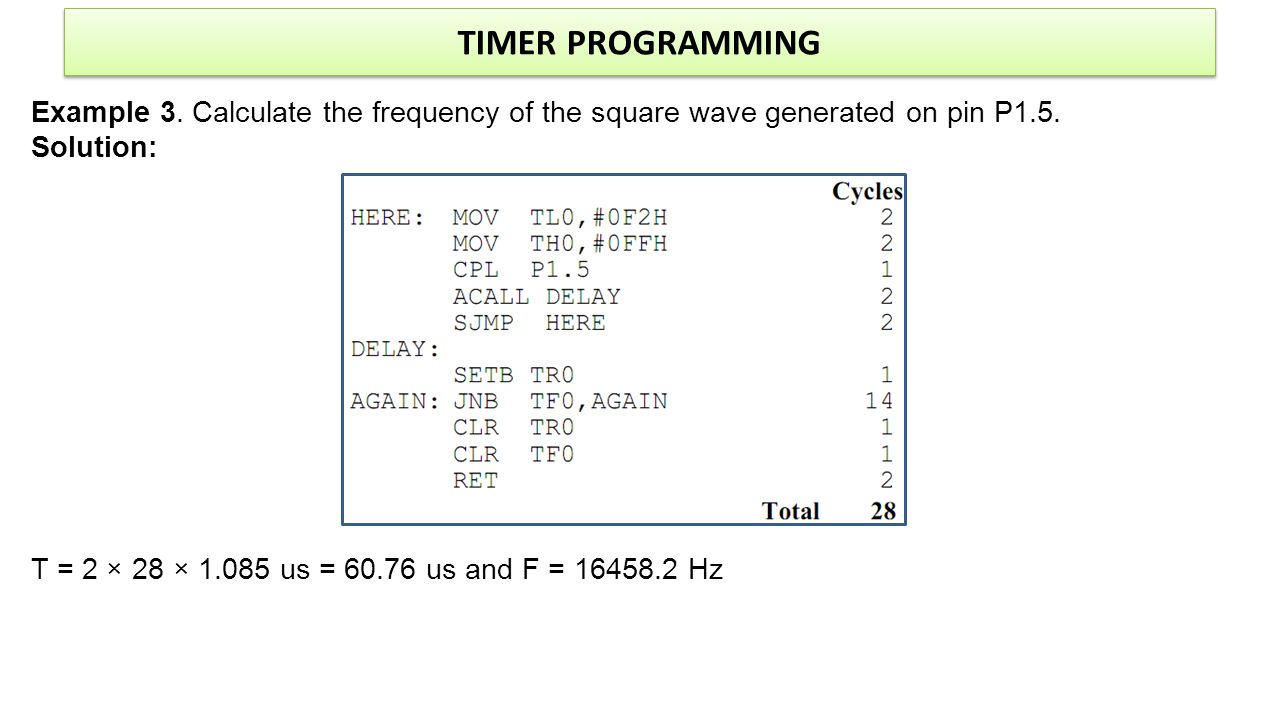 TIMER PROGRAMMING Example 3. Calculate the frequency of the square wave generated on pin P1.5. Solution: T = 2 × 28 × 1.085 us = 60.76 us and F = 1645