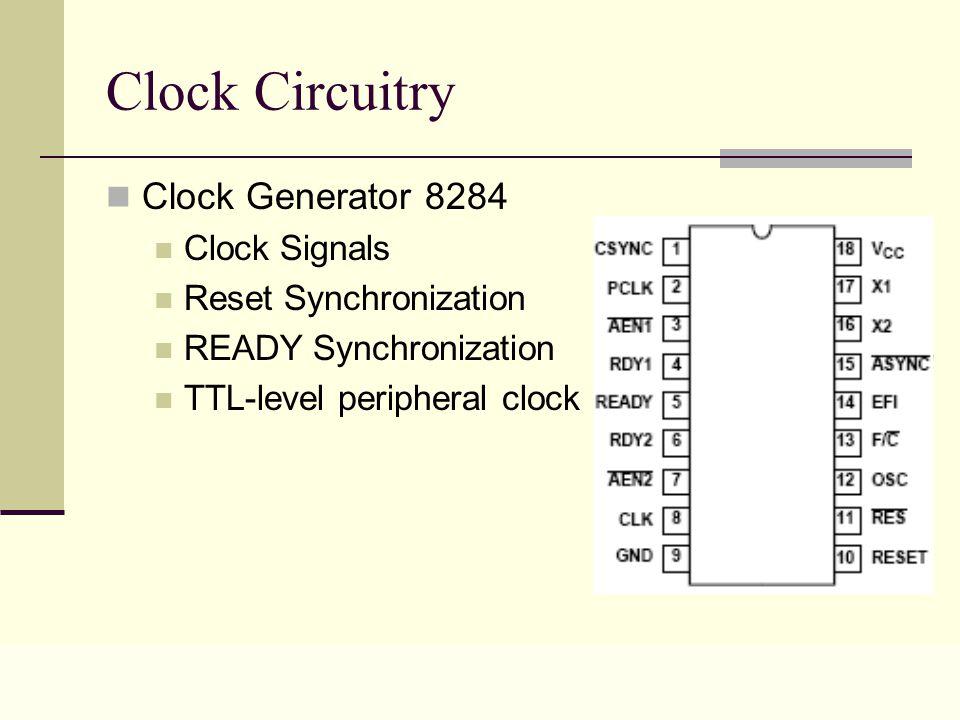 Lecture 0325 Clock Circuitry Clock Generator 8284 Clock Signals Reset Synchronization READY Synchronization TTL-level peripheral clock