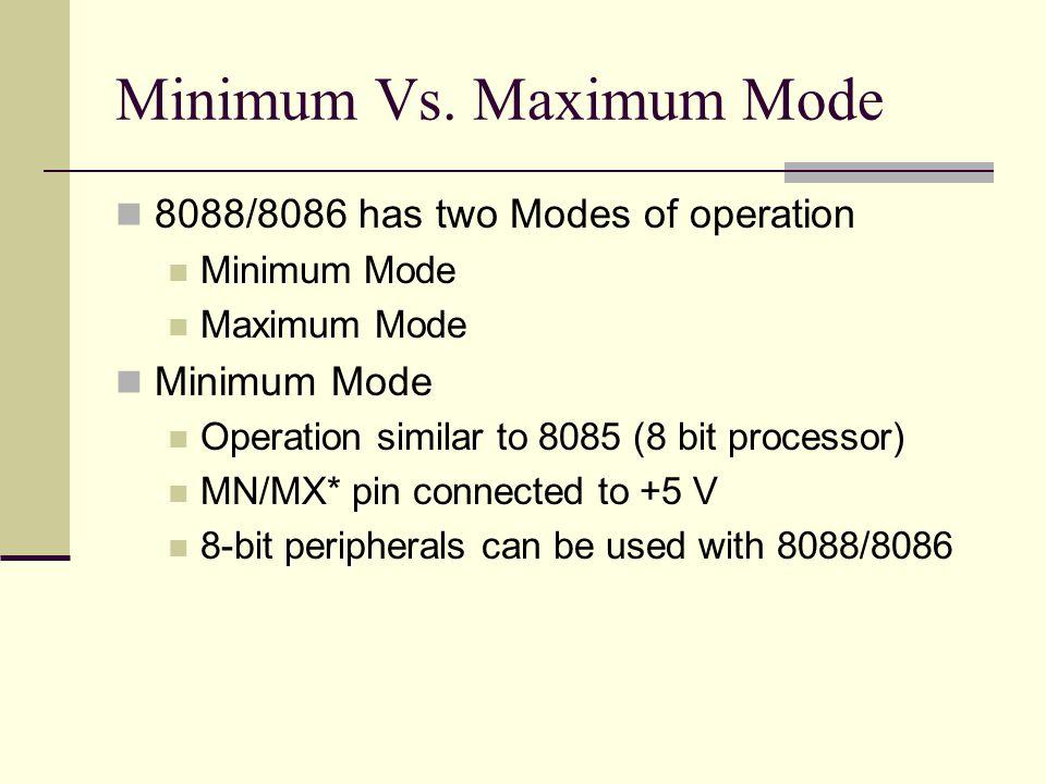 Minimum Vs. Maximum Mode 8088/8086 has two Modes of operation Minimum Mode Maximum Mode Minimum Mode Operation similar to 8085 (8 bit processor) MN/MX