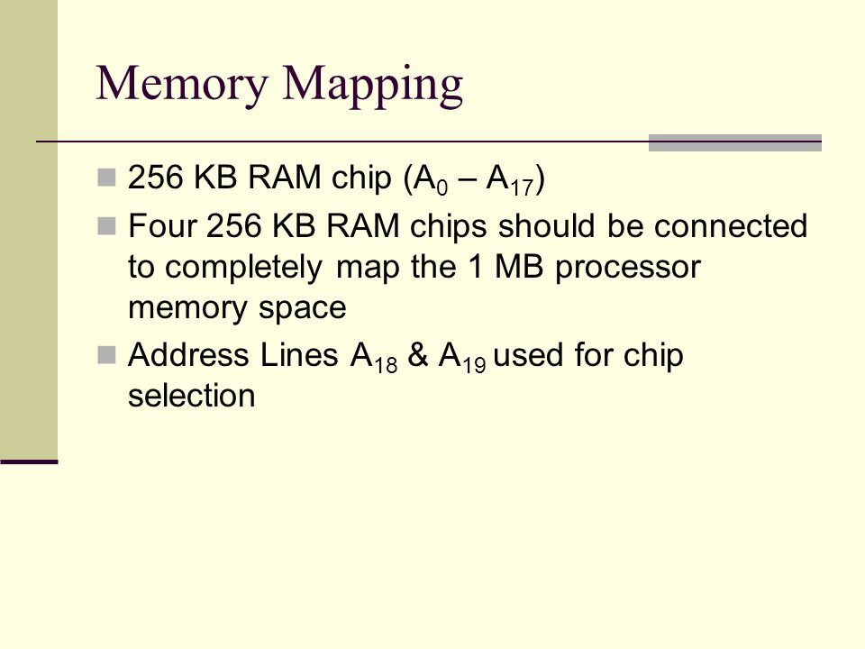 256 KB RAM chip (A 0 – A 17 ) Four 256 KB RAM chips should be connected to completely map the 1 MB processor memory space Address Lines A 18 & A 19 used for chip selection