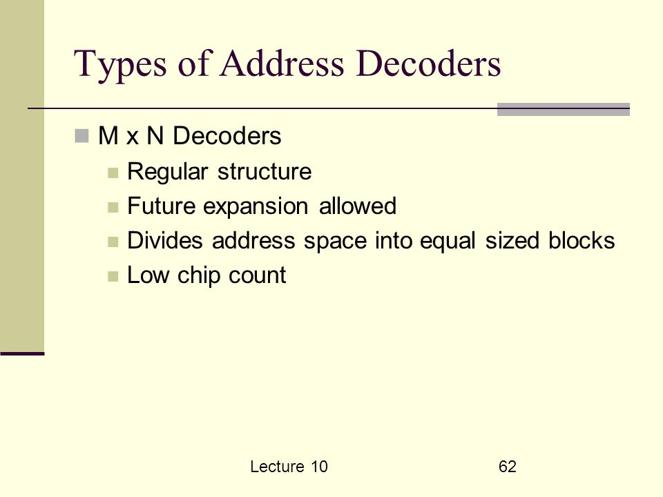 Lecture 1062 Types of Address Decoders M x N Decoders Regular structure Future expansion allowed Divides address space into equal sized blocks Low chip count