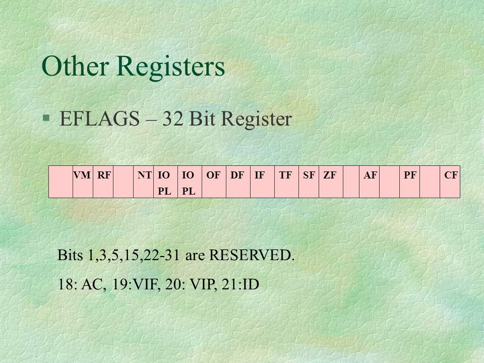 Other Registers  EFLAGS – 32 Bit Register CFPFAFZFSFTFIFDFOFIO PL IO PL NTRFVM Bits 1,3,5,15,22-31 are RESERVED. 18: AC, 19:VIF, 20: VIP, 21:ID