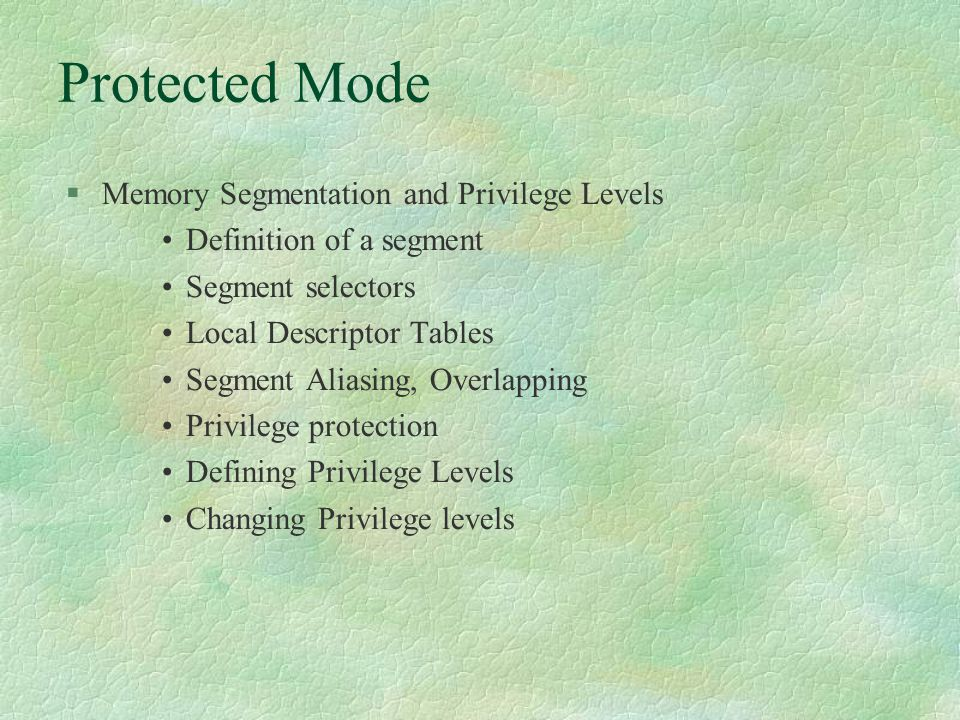 x86 Memory Management  To Learn Real and protected mode addressing in x86 Virtual Memory and paging Addressing Task switching and Interrupt handling Legacy issues