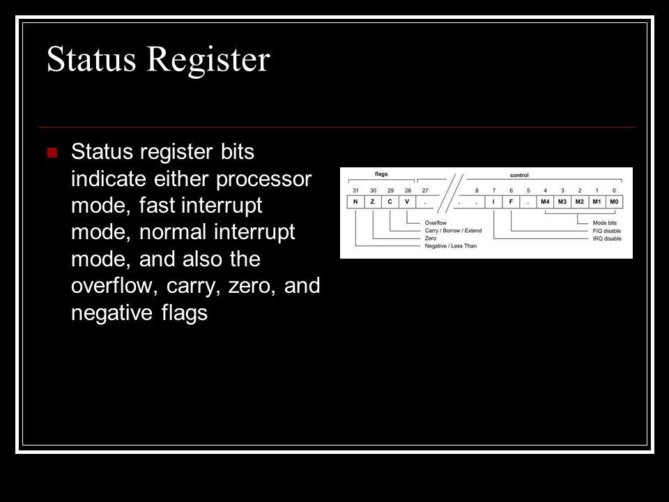 Status Register Status register bits indicate either processor mode, fast interrupt mode, normal interrupt mode, and also the overflow, carry, zero, a