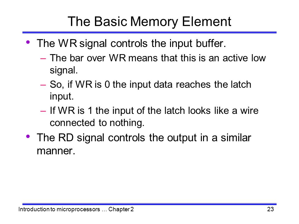 Introduction to microprocessors … Chapter 223 The Basic Memory Element The WR signal controls the input buffer. –The bar over WR means that this is an