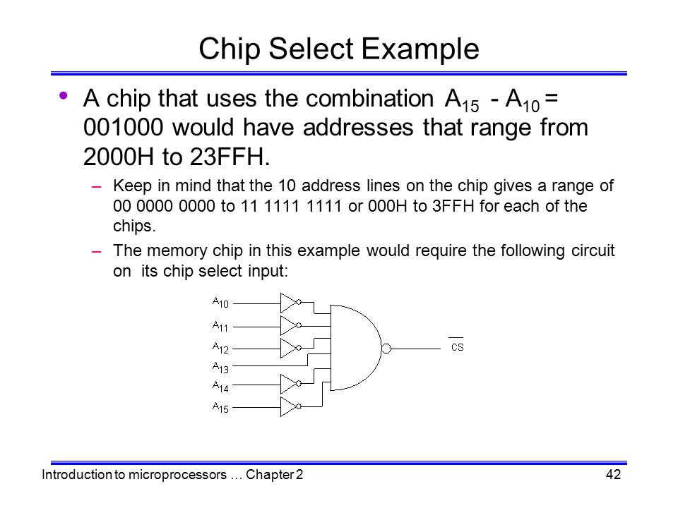 Introduction to microprocessors … Chapter 242 Chip Select Example A chip that uses the combination A 15 - A 10 = 001000 would have addresses that rang