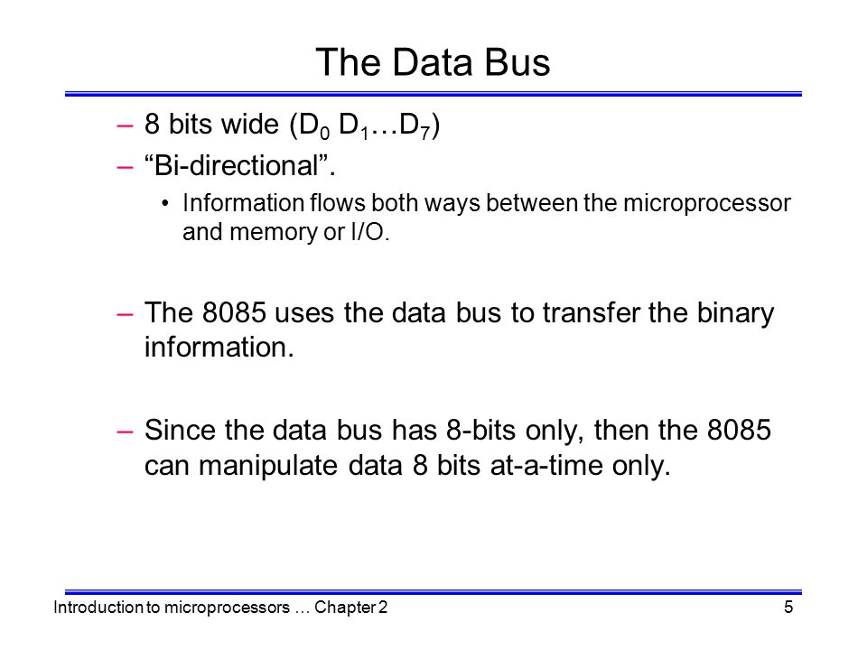 Introduction to microprocessors … Chapter 216 Externally-Initiated Operations –Ready The 8085 has a pin called RDY.