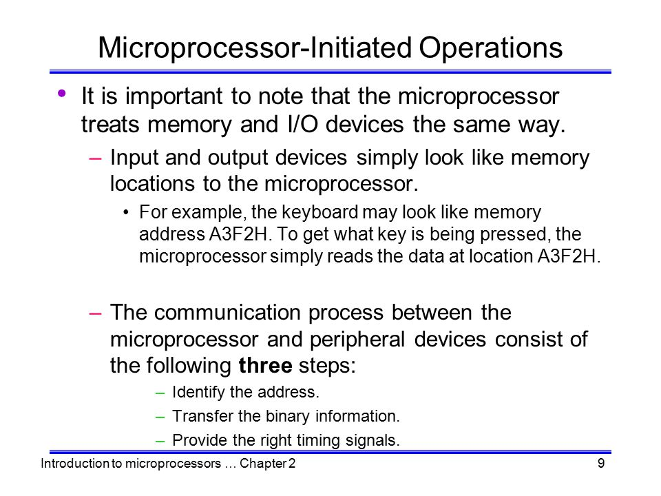 Introduction to microprocessors … Chapter 210 The Read Operation –To read the contents of a memory location, the following steps take place: The microprocessor places the 16-bit address of the memory location on the address bus.