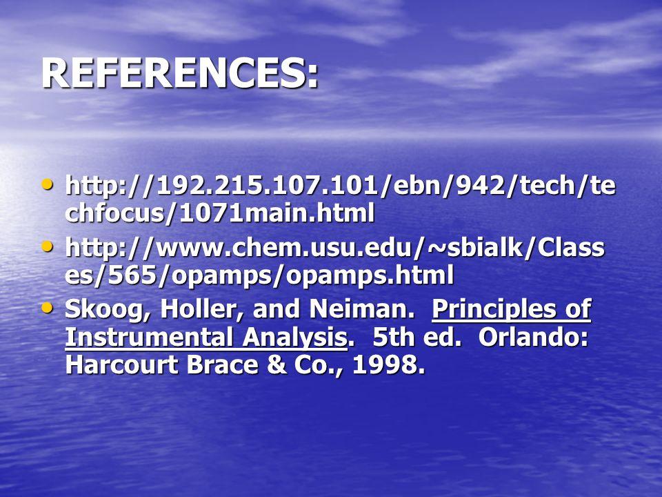 REFERENCES: http://192.215.107.101/ebn/942/tech/te chfocus/1071main.html http://192.215.107.101/ebn/942/tech/te chfocus/1071main.html http://www.chem.usu.edu/~sbialk/Class es/565/opamps/opamps.html http://www.chem.usu.edu/~sbialk/Class es/565/opamps/opamps.html Skoog, Holler, and Neiman.