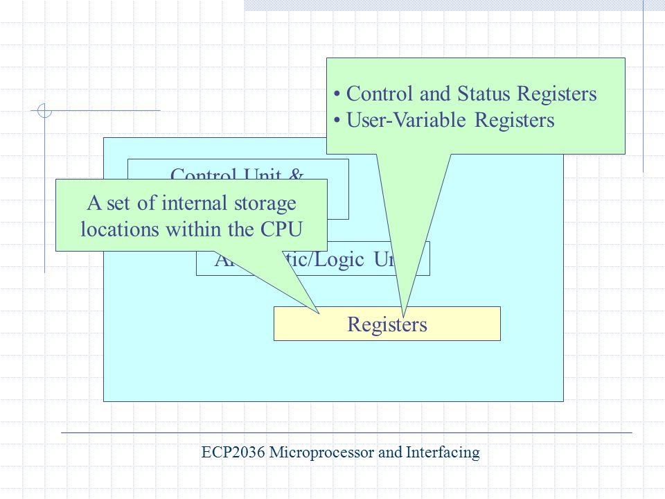 Control Unit & Instruction Decoder Arithmetic/Logic Unit Registers ECP2036 Microprocessor and Interfacing Control and Status Registers User-Variable R