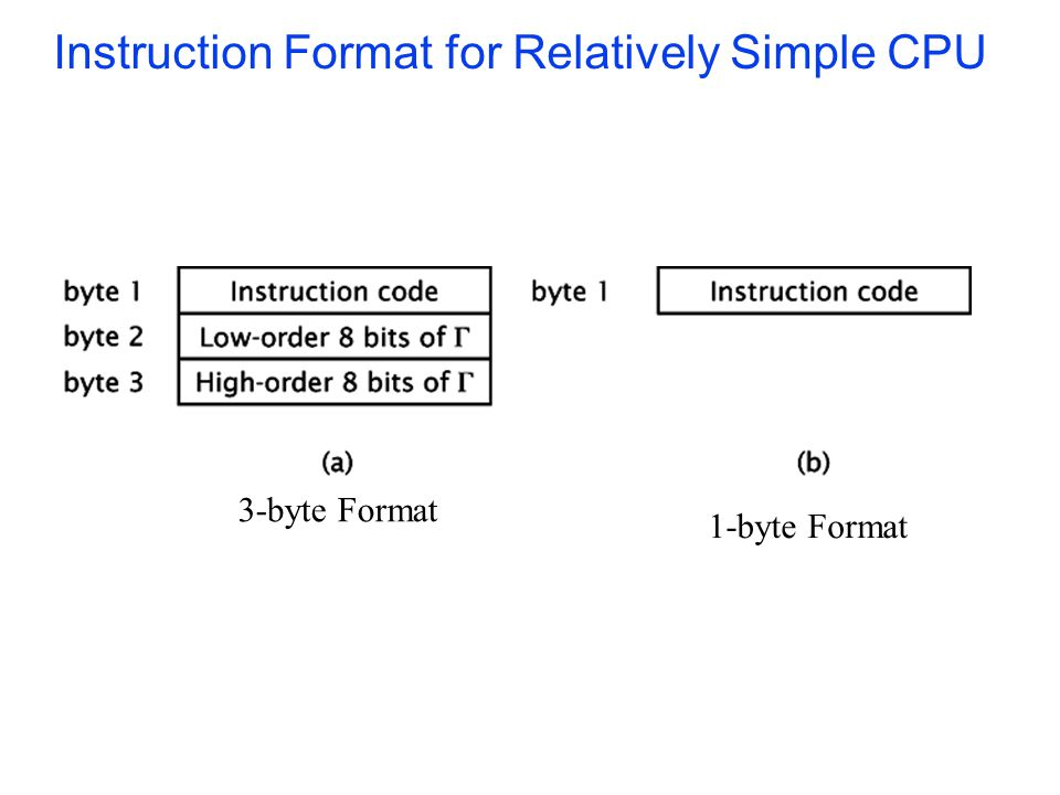 Instruction Format for Relatively Simple CPU 3-byte Format 1-byte Format