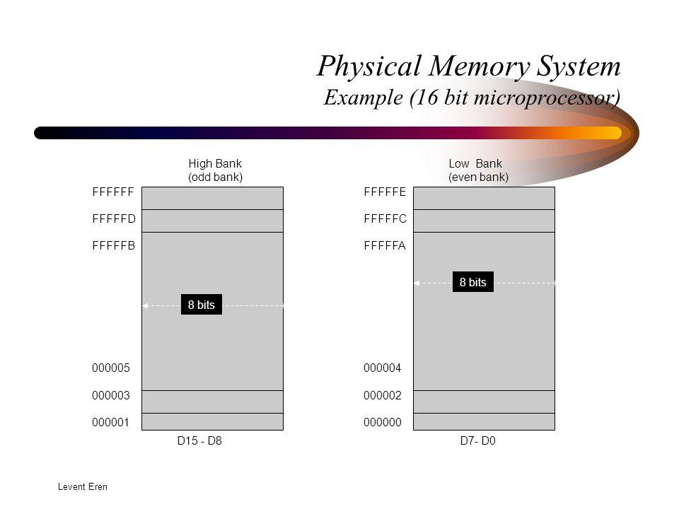 Levent Eren Physical Memory System Example (16 bit microprocessor) FFFFFF FFFFFD FFFFFB 000005 000003 000001 8 bits High Bank (odd bank) D15 - D8 FFFFFE FFFFFC FFFFFA 000004 000002 000000 8 bits Low Bank (even bank) D7- D0