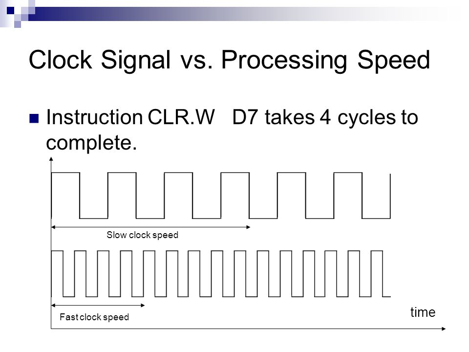 Clock Signal vs. Processing Speed Instruction CLR.W D7 takes 4 cycles to complete.