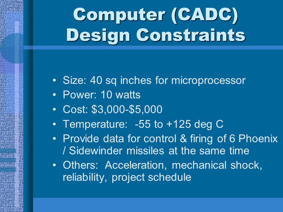 Computer (CADC) Design Constraints Size: 40 sq inches for microprocessor Power: 10 watts Cost: $3,000-$5,000 Temperature: -55 to +125 deg C Provide da